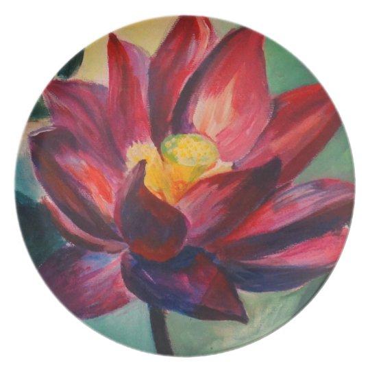 Lotus Art Painting Melamine Plate