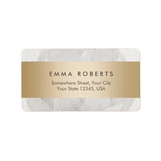 Lotus Background Gold Striped Elegant Linen Label
