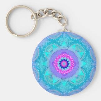 Lotus Bloom Turquoise Mandala Basic Round Button Key Ring