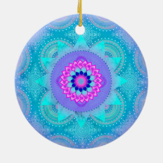 Lotus Bloom Turquoise Mandala ID129 Round Ceramic Decoration