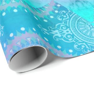 Lotus Bloom Turquoise Mandala Wrapping Paper