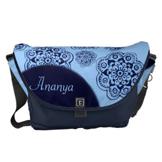 Lotus Blossom (Henna)(Blue) Messenger Bags