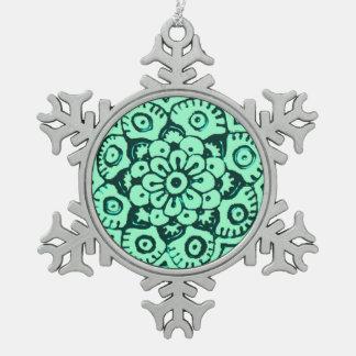 Lotus Blossom (Henna) (Teal) Snowflake Pewter Christmas Ornament