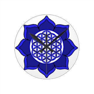Lotus Blue7 Round Clock