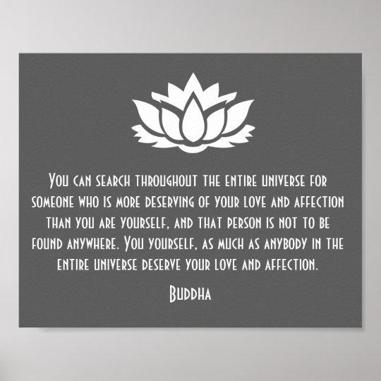 Lotus Buddha Love Quote Poster