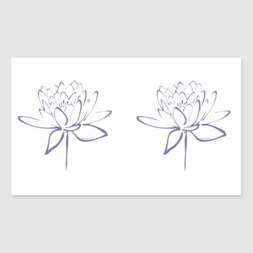 Lotus Calligraphy (Blue) Rectangle Stickers
