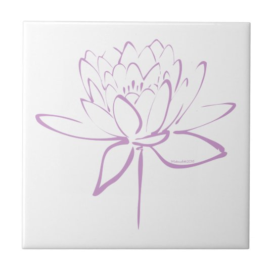 Lotus Calligraphy (Lavender) Small Square Tile