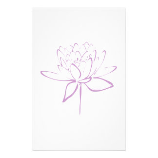 Lotus Calligraphy (Lavender) Stationery