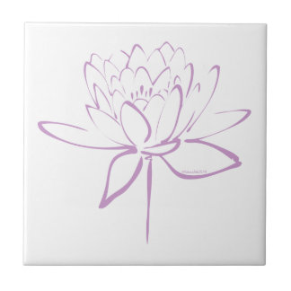 Lotus Calligraphy (Lavender) Tile