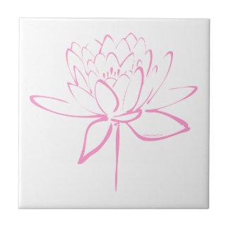 Lotus Calligraphy (Pink) Ceramic Tiles