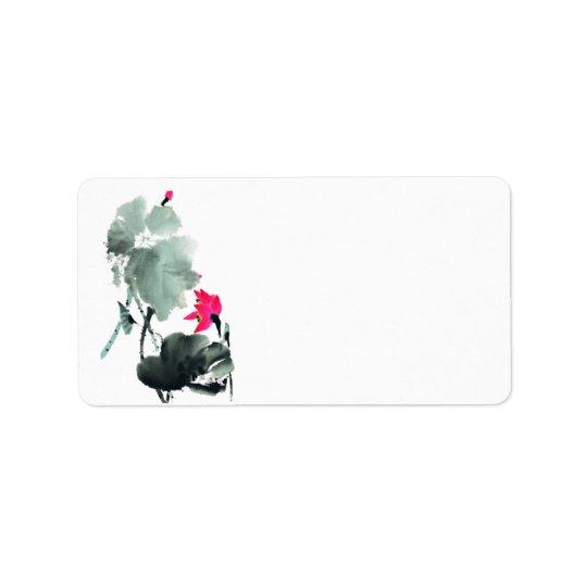 Lotus/Chinese Brush Painting Art/Blank Address Label