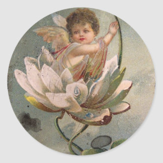 Lotus Cupid Retro Valentine Round Sticker