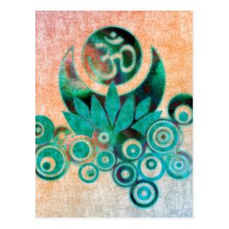 Lotus Energy Batik Style Postcard