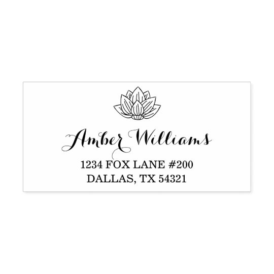 Lotus Flower Address Self-inking Stamp