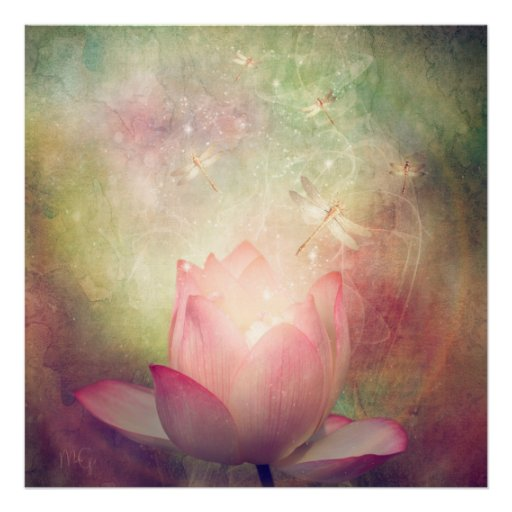 Lotus Flower and Dragonflies Poster