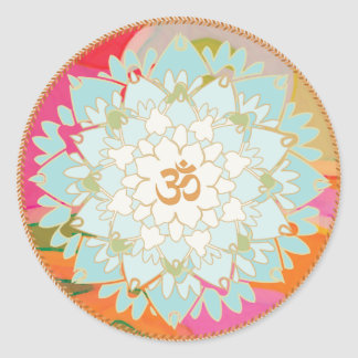 Lotus Flower and Om Symbol Mandala Sticker