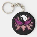 Lotus Flower and Yin Yang Basic Round Button Key Ring