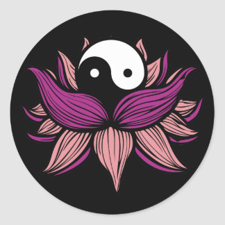 Lotus Flower and Yin Yang Round Sticker