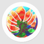 LOTUS Flower - Artistic Abstract Round Sticker
