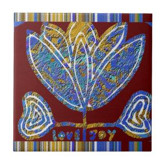 LOTUS flower Artistic Presentation Blue India Fun Ceramic Tile