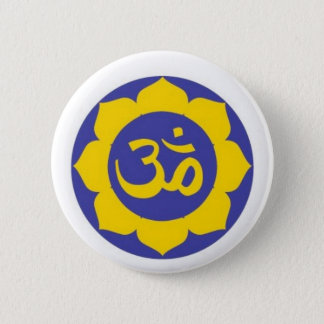 lotus flower - aum meditation 6 cm round badge