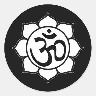 Lotus Flower Aum Symbol Classic Round Sticker