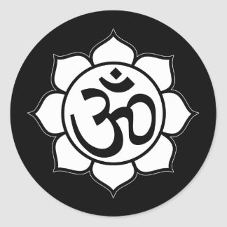Lotus Flower Aum Symbol Round Sticker