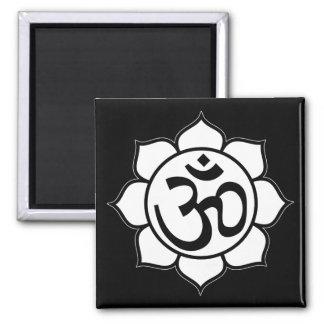 Lotus Flower Aum Symbol Square Magnet