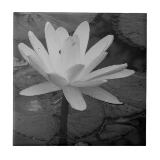 Lotus Flower B W Ceramic Tile