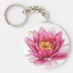 Lotus Flower Basic Round Button Key Ring