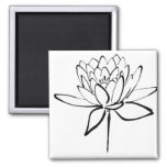 Lotus Flower Black and White Ink Drawing Art