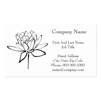 Lotus Flower Black and White Ink Drawing Art Business Card Template