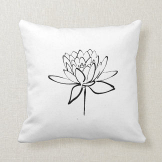 Lotus Flower Black and White Ink Drawing Art Cushion