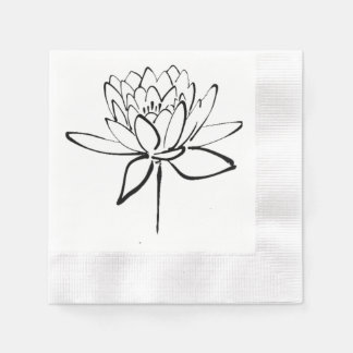 Lotus Flower Black and White Ink Drawing Art Disposable Napkin