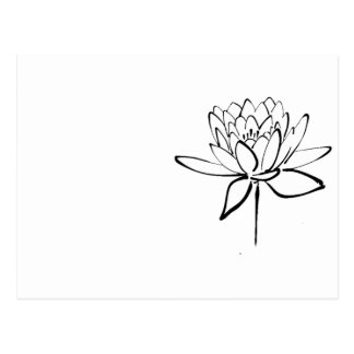 Lotus Flower Black and White Ink Drawing Art Postcard