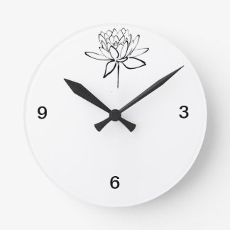 Lotus Flower Black and White Ink Drawing Art Round Clock