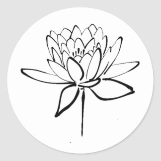 Lotus Flower Black and White Ink Drawing Art Round Sticker