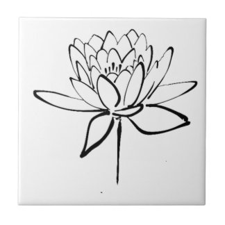 Lotus Flower Black and White Ink Drawing Art Small Square Tile