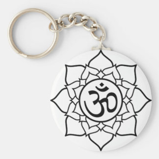 Lotus Flower, Black with White Background Key Ring