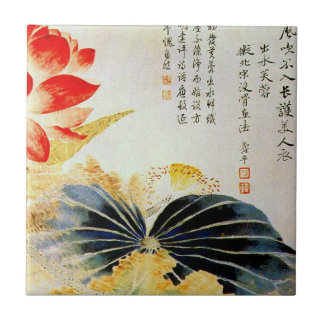 Lotus Flower Breaking the Surface Tiles