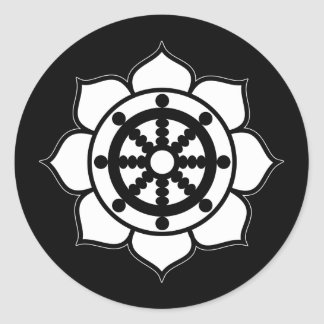 Lotus Flower Dharma Wheel Round Sticker