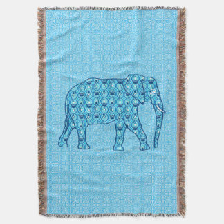 Lotus flower elephant, turquoise and aqua throw blanket