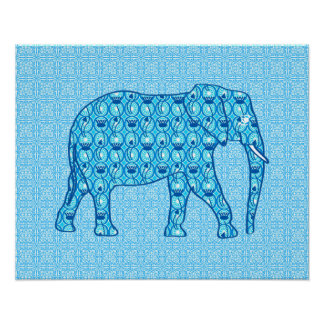 Lotus flower elephant - turquoise poster