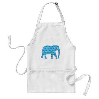 Lotus flower elephant - turquoise standard apron