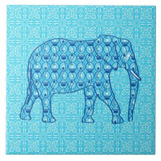 Lotus flower elephant - turquoise tiles