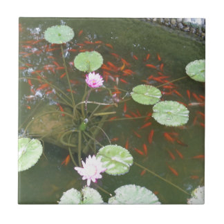lotus flower fishes small square tile