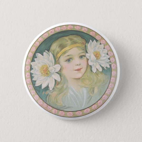 Lotus Flower Girl Portrait 6 Cm Round Badge