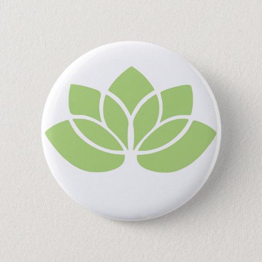 Lotus Flower Green Round Button
