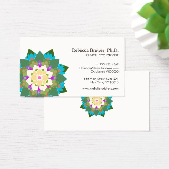 Lotus Flower Holistic Mental Health Healer Business Card