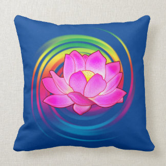 Lotus Flower in Rainbow Cushion